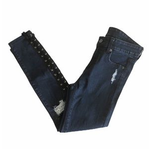 LF Carmar Lace Up Distressed Skinny Jeans Sz 26
